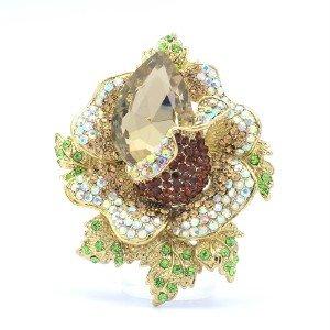 """Cute Rose Flower Pendant Brooch Broach Pin 2.7"""" Brown Rhinestone Crystals 5840"""