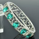 H-Quality Blue Swarovski Crystals Fashion Bracelet Bangle W/ Silver Tone 471401