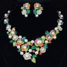 Multi Faux Pearl Flower Necklace Earring Sets W/ Mix Swarovski Crystals 196901