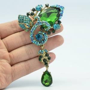 """Rhinestone Crystals Flower Green Charm Broach Brooch Pendant 3.6"""" 6178"""