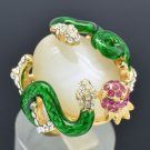 High Quality Clear Swarovski Crystals Opal Green Snake Cocktail Ring 7#