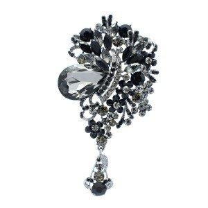 "Black Rhinestone Crystals Drop Flower Brooch Pin Broche 4.0"" 5957"