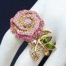Vintage Style Pink Rose Flower Ring Size 6#&7# W/ Swarovski Crystals SR2099