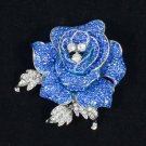 Rhinestone Crystals Retro Cute Blue Rose Flower Brooch Broach Pin 2.1""