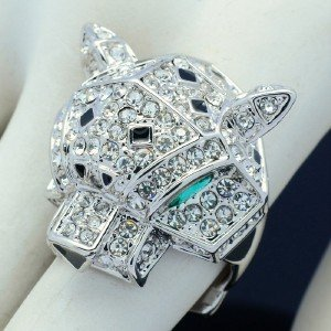 Rhinestone Crystals Silver Tone Animal Panther Leopard Cocktail Ring 08158