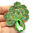 "Vintage Green Flower Broach Brooch Pin Pendant Rhinestone Crystals 2.6"" 6175"