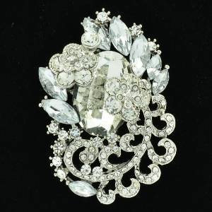 "Rhinestone Crystals Wedding Clear Flower Brooch Broach Pendant Pin 2.6"" 6329"