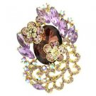 "Rhinestone Crystals Chic Purple Flower Brooch Broach Pendant Pin 2.6"" 6329"