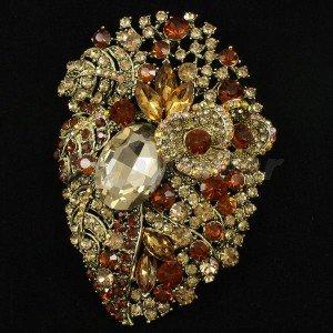 "4.1"" Brown Flower Pendant Brooch Broach Pin W/ Rhinestone Crystals 5657"
