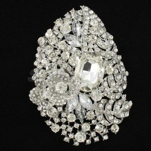 "Bridal Rhinestone Crystals Clear Flower Brooch Broach Pin 4.1"" For Wedding 5657"