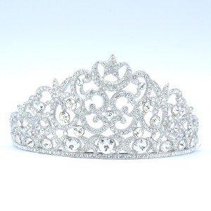 Weding Bridal Flower Moon Star Tiara Crown with Clear Swarovski Crystals SH8582