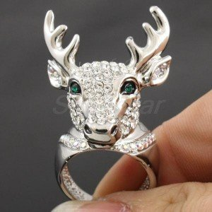 Swarovski Crystals H-Quality Clear Animals Deer Cocktail Ring 7#,8#,9# SR1816-2