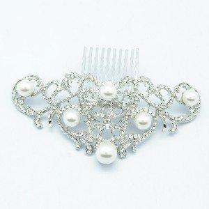 Rhinestone Crystals Faux Pearl Clear Flower Hair Comb Tiara Wedding FA2937FS