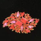 "Vintage Style Red Flower Brooch Broach Pin 3.7"" w/ Rhinestone Crystals 4079"