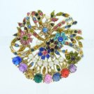 "Mix Rhinestone Crystals Faux Pearl Flower Brooch Broach Pin 2.1"" 5837"