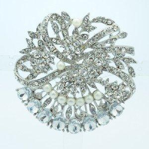 "Rhinestone Crystals Faux Pearl Clear Flower Brooch Broach Pin 2.1"" 5837"