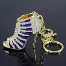 Pretty Purple High-Heel Shoe Key Ring Key Chain W/ Rhinestone Crystals