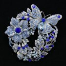 Vintage Flower Butterfly Brooch Broach Pin w/ Blue Rhinestone Crystals 4489