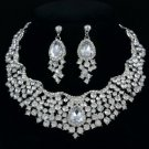 Rhinestone Crystals Teardrop Flower Necklace Earring Set 6 Color 02162