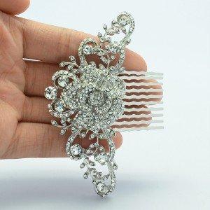 Princess Wedding Clear Flower Hair Comb w/ Rhinestone Crystals FA2939FS