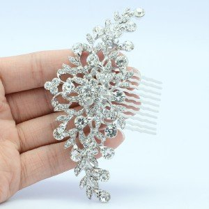 Wedding Bride Floral Hair Comb Head Pieces w/ Clear Rhinestone Crystals FA2944