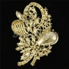 "Chic Green Flower Brooch Broach Pin 3.5"" W/ Rhinestone Crystals 4622"
