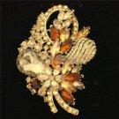 "Chic Flower Brooch Broach Pin 3.5"" W/ Brown Rhinestone Crystals Gold Tone 4622"