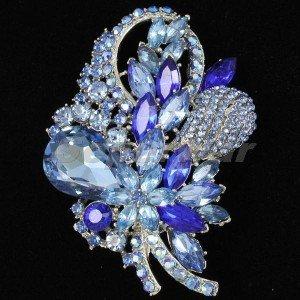 """Chic Fashion Blue Flower Brooch Broach Pin 3.5"""" Rhinestone Crystals 4622"""