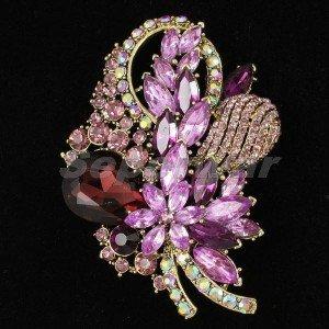 """Chic Purple Flower Brooch Broach Pin 3.5"""" W/ Rhinestone Crystals 4622"""