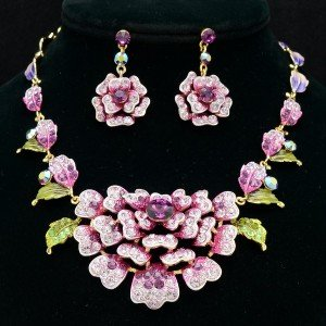 High Quality Purple Swarovski Crystals Leaf Flower Necklace Earring Set JN2263