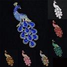 "Peafowl Peacock Brooch Broach Pin 3.6"" W/ Rhinestone Crystals 7 Color 4781"