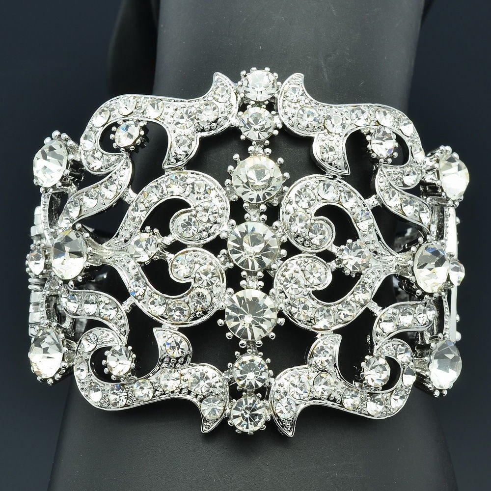 Wedding Huge  Flower Heart Bracelet Bangle Cuff Clear Rhinestone Crystals 2415