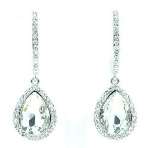 Wedding Tear Drop Pierced Dangle Earrings Clear Rhinestone Crystal Bridal 214114