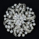 Vintage Style Bridal Flower Brooch Pin Clear Rhinestone Crystal Floral 3804