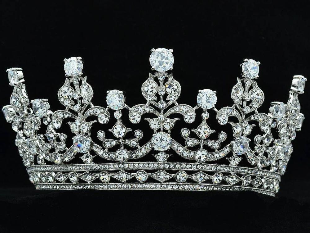 Wedding Flowers Tiara Crown Headbands Clear Zircon Swarovski Crystals 17363R