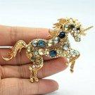 Blue Rhinestone Crystals Vintage Horse Unicorn Broach Brooch Pins Pendant 6172