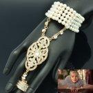 Rhinestone Crystal Stretch Pearls Bridal Bracelet Ring Set The Great Gatsby 9565
