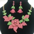 Pink Rose Flower Necklace Earring Set Rhinestone Crystal Floral Bud