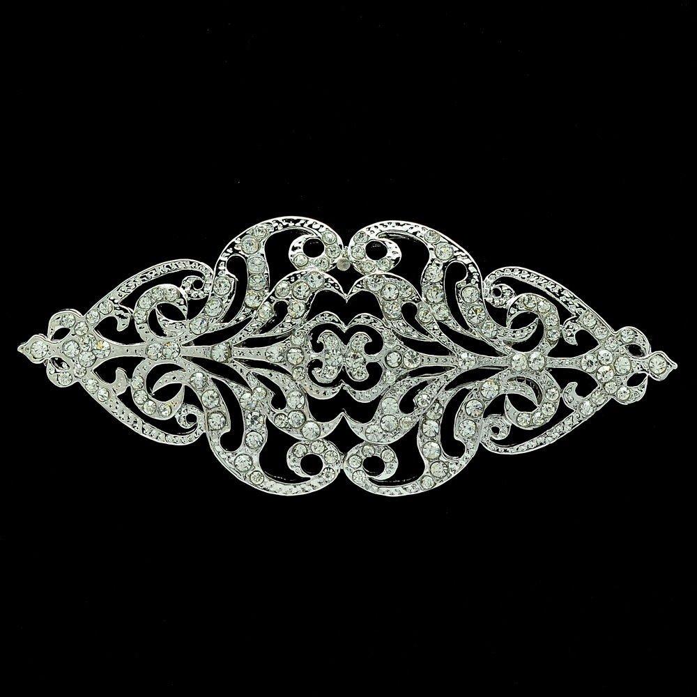 Europe Royal Style Wedding Clear Flower Brooch Hat Pin Rhinestone Crystal XBY104