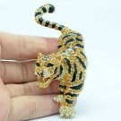 Rhinestone Crystals Topaz Tigress Tiger Brooch Pin Jewelry Accessories FA3196