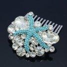 Bridal Jewelry Blue Starfish Hair Comb Accessories Rhinestone Crystals 4995