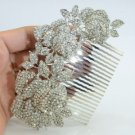 Wedding Leaves 3 Rose Flower Hair Comb Tiara Rhinestone Crystals for Bridal 0506