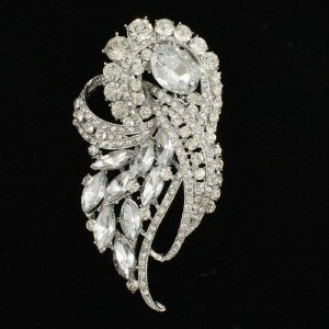 Women Drop Rhinestone Crystals Clear Flower Brooch Broach Pins Wedding 4243