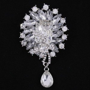 """Fashion Bridal Drop Clear Rhinestone Crystal Flower Brooch Pin 3.5"""" Wedding 4783"""