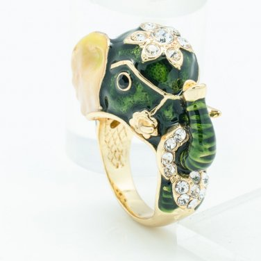 Swarovski Crystal Dark Green Enamel Elephant Cocktail Ring Women Jewelry 7# 2183