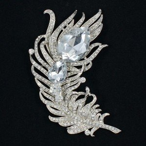 "Big Clear Feather Brooch Broach Pins Women Jewelry 4.3"" Rhinestone Crystals 5038"
