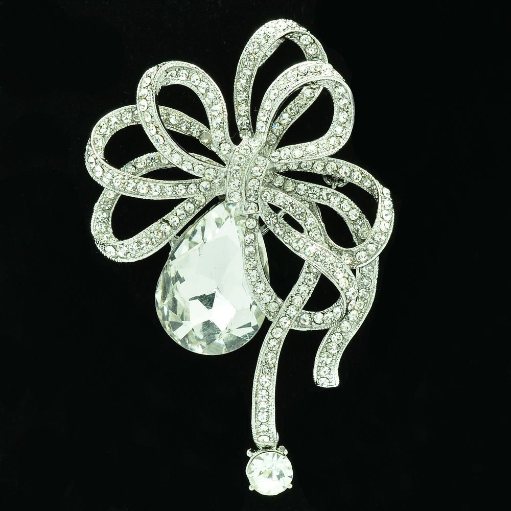 Vintage Wedding Bowknot Brooch Pin Rhinestone Crystal Women Costume Jewelry 6414