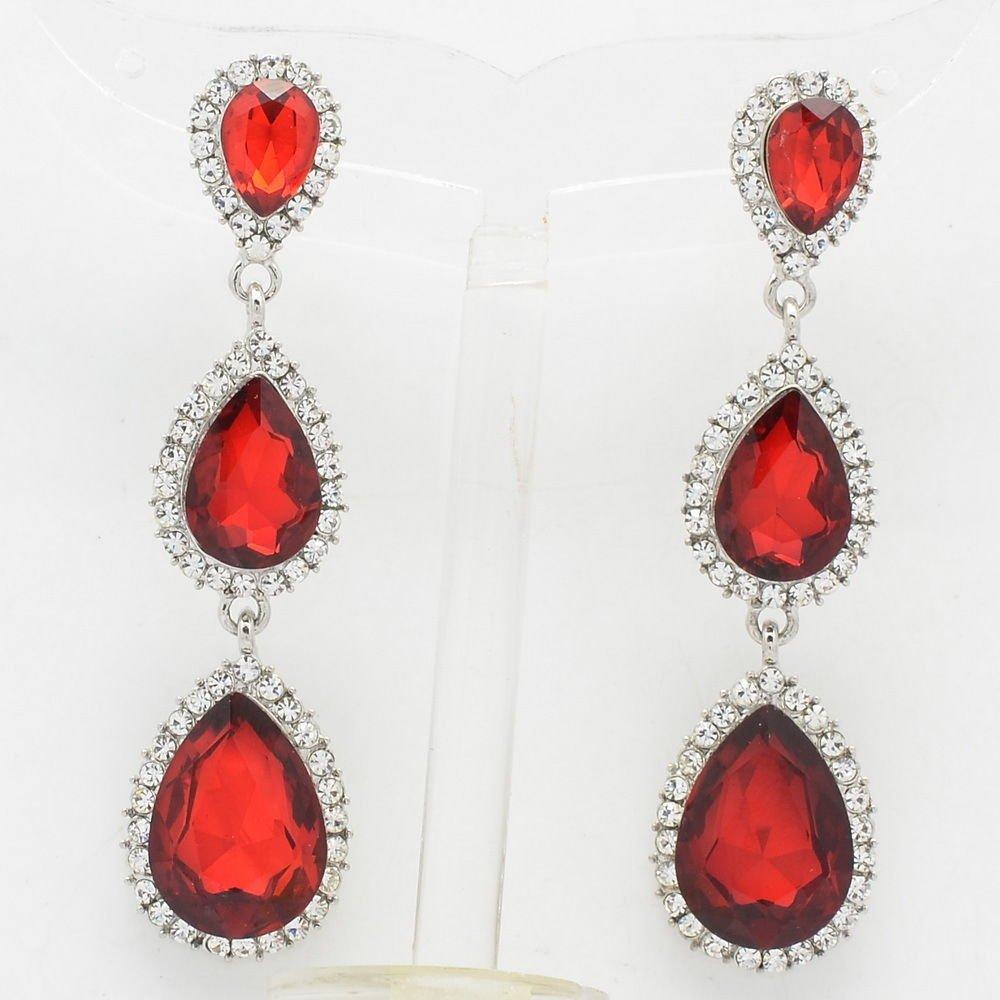 Rhinestone Crystal 3 Red Water Drop Pierced Dangle Earring 139520