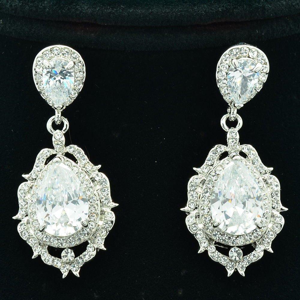 Wedding Drop Dangle Flower Pierced Earring Zircon Rhinestone Crystals 20671