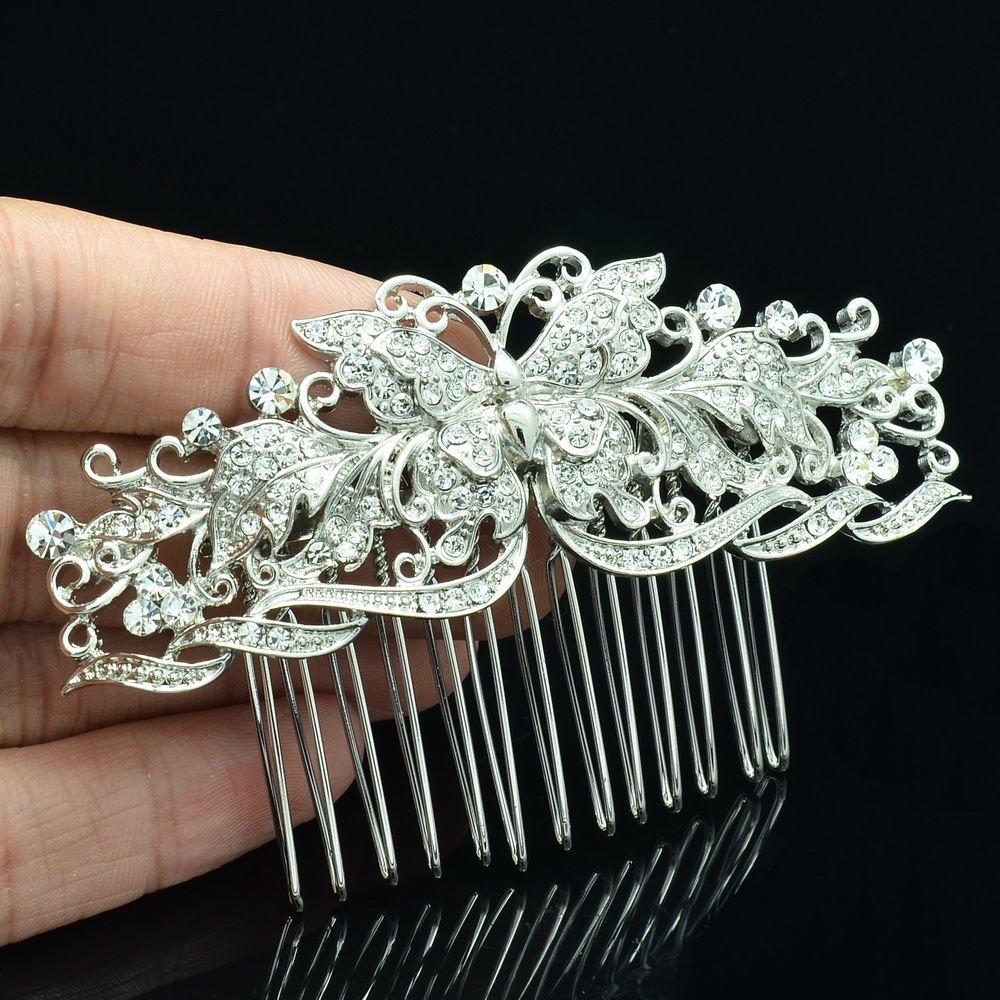 2014 New Butterfly Flower Hair Comb Rhinestone Crystal Wedding Bridal Prom 1338R